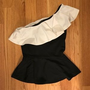 white and black off the shoulder peplum top